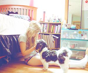 girl, dog, and guitar image