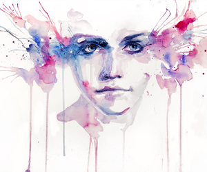 art, watercolor, and face image
