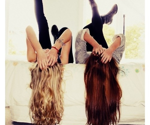 best friends, long hair, and lovely image