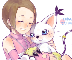 hikari, tailmon, and digimon adventure 02 image