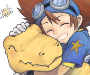 taichi, digimon adventure, and agumon image