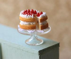cake, miniature, and strawberries image