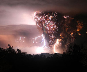lightning, storm, and volcano image