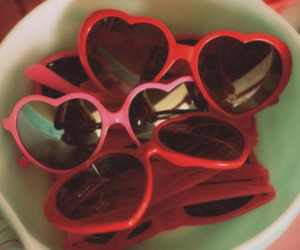 heart, sunglasses, and red image