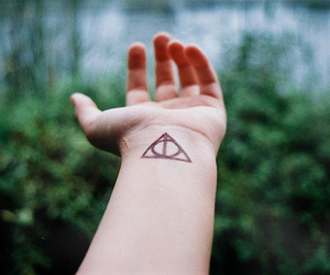 harry potter, deathly hallows, and tattoo image