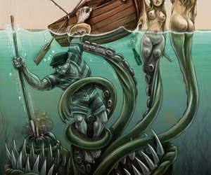 mermaid, monster, and sea image