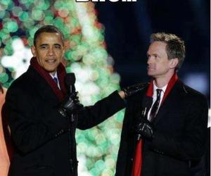 obama, funny, and barney image
