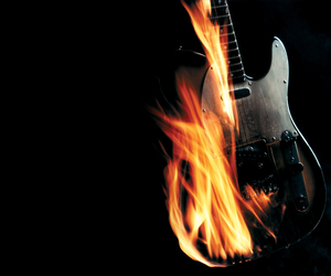 guitar, fire, and wallpaper image