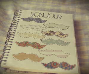 mustache, book, and bonjour image