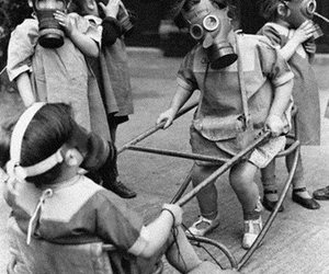 child, black and white, and gas mask image