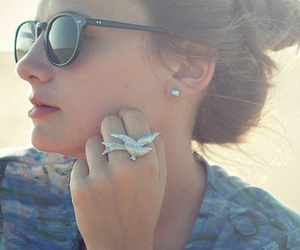 girl, ring, and sunglasses image