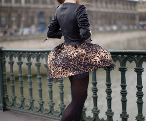 eiffel tower, girl, and leopard image