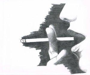 black and white, draws, and smoke image