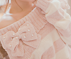 pink, sweater, and bow image