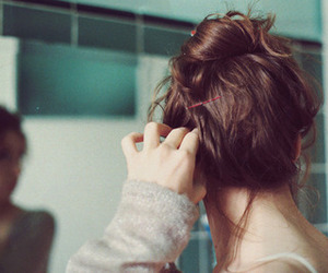 girl, hair, and mirror image