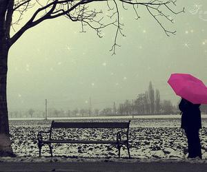 pink, umbrella, and snow image