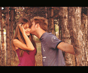 couple, forest, and kiss image
