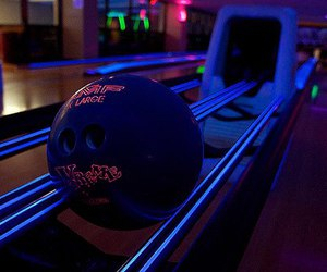 bowling, neon, and photography image