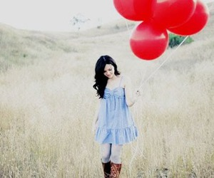 balloons, girl, and red image