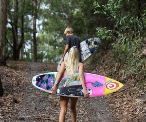 girl, surf, and surfboard image