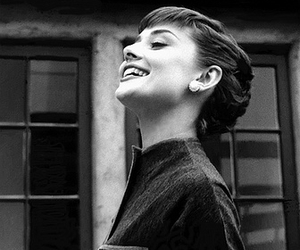audrey hepburn, black and white, and smile image