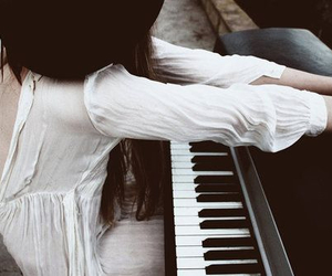 piano, girl, and white image