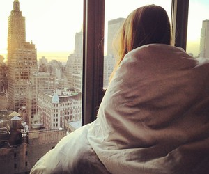 girl, city, and morning image