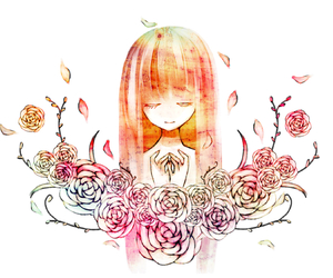 anime, long hair, and flowers image