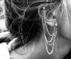black, earing, and earrings image