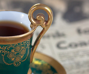 tea, cup, and gold image