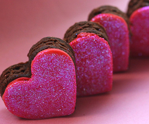 pink, heart, and chocolate image