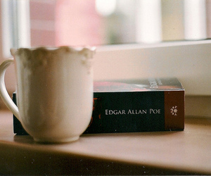 book, edgar allan poe, and tea image