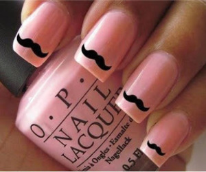 mustache, nails, and pink image