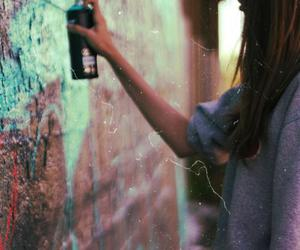 girl, graffiti, and art image