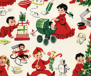 children, wrapping paper, and christmas image