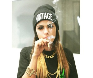 girl, smoke, and vintage image