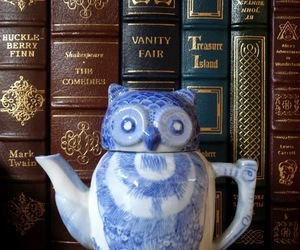 books, teapot, and vintage image