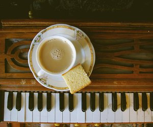 piano, vintage, and coffee image