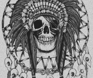 skull, drawing, and indian image