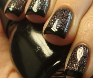 black, glitters, and nails art image