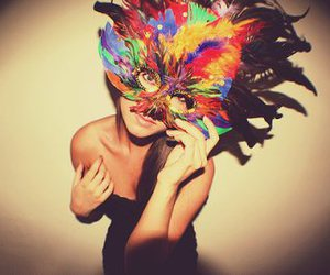 brunette, fashion, and feathers image