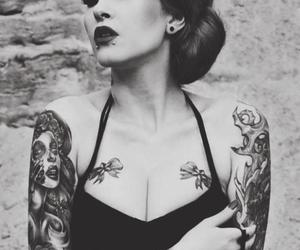 tattoo, black and white, and piercing image