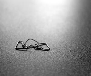 black and white, hearts, and love image