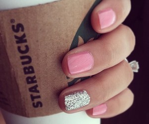 nails, starbucks, and pink image