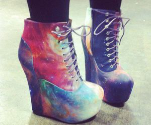 shoes, galaxy, and heels image