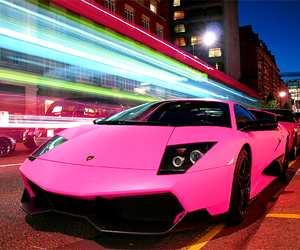pink, car, and lights image