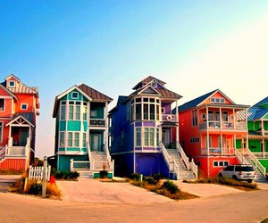 house, beach, and colorful image