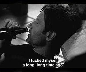 hank moody, alcohol, and black and white image