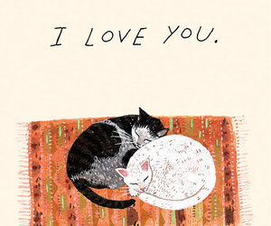 cat, love, and art image