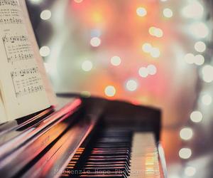 light, piano, and music image